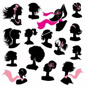 Set Of Woman And Girl Silhouettes With Hair Styling And Accessories