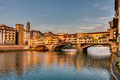 stock photo of bridges  - landscape at sunset of Florence Italy - JPG