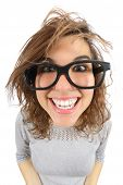 stock photo of crazy face  - Wide angle view of a geek woman with glasses smiling isolated on a white background - JPG