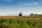 A large agricultural sprayer with wide booms spraying a field of potatoes in rural Prince Edward Isl