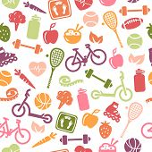 Seamless pattern composed from icons representing healthy lifestyle.