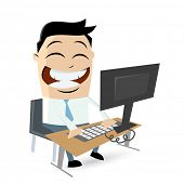 funny cartoon man sitting on computer