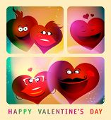 Valentine`s card with series of photo booth funny couple hearts. Eps10
