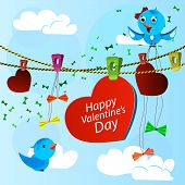 card on valentine day with heart and blue birds