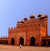 stock photo of darwaza  - Buland Darwaza Gate is the Victory Gate in the ancient abandoned city Fatehpur Sikri - JPG