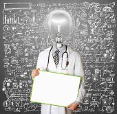 Lamp Head Doctor man with empty board against different backgrounds