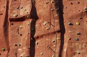 Climbing Wall Background With Ropes.