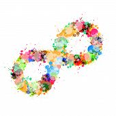 Abstract Colorful Stain, Splash Infinity Symbol