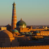 Ancient city of Khiva at sunset. Uzbekistan