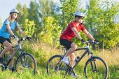Couple Training Together  On Bikes
