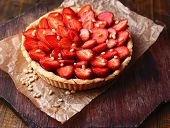 picture of tarts  - Strawberry tart on wooden tray - JPG