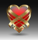 Elegant Metallic Heart Embleme With Embellishment