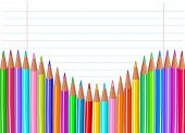 Back to school color pencils background. Raster version.