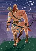 picture of centaur  - Centaur walking in the rain - JPG