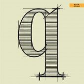 art simple alphabet in vector, classical black handmade font, lowercase letter q