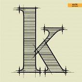 art simple alphabet in vector, classical black handmade font, lowercase letter k