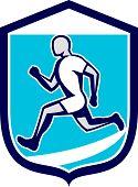Sprinter Runner Running Shield Retro