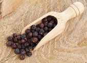 Juniper Berries In Wooden Scoop