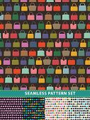 Seamless Pattern Set. Colorful Handbags
