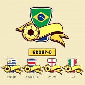 Group D Teams Uruguay, Costa Rica, England and Italy countries flags for Soccer Competition in Brazil.
