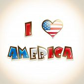 Glossy text I Love America on shiny brown background American Independence Day celebrations backgrou
