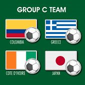 Group C Team Colombia, Greece, Cote d'ivoire and Japan countries flags