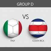 Group D Match Costa Rica v/s Italy countries flags