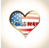 Shiny heart shape icon with American Flag and stylish text America on shiny brown background.