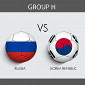 Group H Match Russia v/s South Korea countries flags
