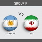 Group F Match Argentina v/s Iran countries flags for Soccer Competition in Brazil.
