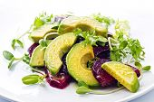 foto of sunflower  - Beetroot and avocado salad with lemon and Fresh sunflower sprouts - JPG