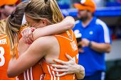 THE HAGUE, NETHERLANDS - JUNE 14 2014: Dutch team captain Maartje Paumen cant surpress her tears of