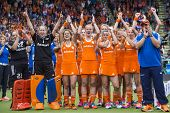 THE HAGUE, NETHERLANDS - JUNE 14, 2014: The Dutch Women Hockey team celebrates after winning the Hoc