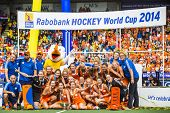 THE HAGUE, NETHERLANDS - JUNE 14: Team photo of the victorious Dutch Team, coaches and support staff