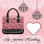Women's Handbag, Label , Chandeliers.paisley Border
