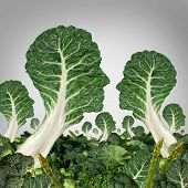 foto of leafy  - Vegetarian community and healthy eating society concept as a group of green leafy vegetables shaped as human heads as a health symbol of organic and agriculture idea for food growers social network - JPG