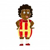cartoon woman in kitchen apron