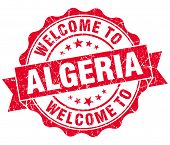 Welcome To Algeria Red Grungy Vintage Isolated Seal