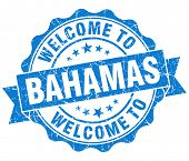 Welcome To Bahamas Blue Grungy Vintage Isolated Seal