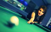 picture of snooker  - Young brunette girl playing snooker - JPG