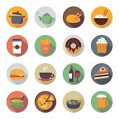 Collection of food icons in flat design style.