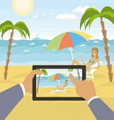 Vector outdoors sea landscape with woman and hands with touch pad