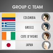 Group C Team Colombia, Greece, Cote d'ivoire and Japan countries flags for Soccer Competition in Brazil.