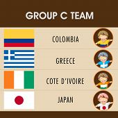 Group C Team Colombia, Greece, Cote d'ivoire and Japan countries flags and players for Soccer Competition in Brazil.