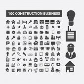 100 construction, business, real estate, architecture icons, signs set, vector