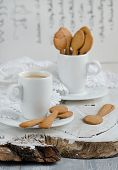 foto of shortbread  - Shortbread and a cup of coffee on wooden background