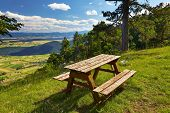 Outdoor bench in a nice mountain area