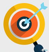Magnifying glass and dartboard, Business working elements for web design, seo optimizations, mobile