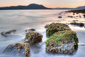 Sunset tidal coastline