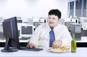 Obesity Businessman Working In Office